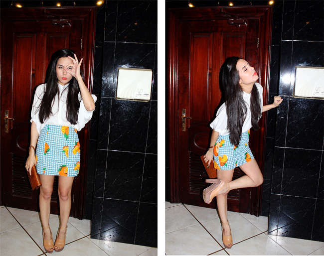 Orange fruit print skirt outfit with white blouse