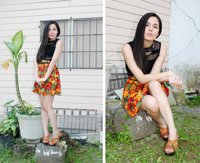 Fall print skirt outfit