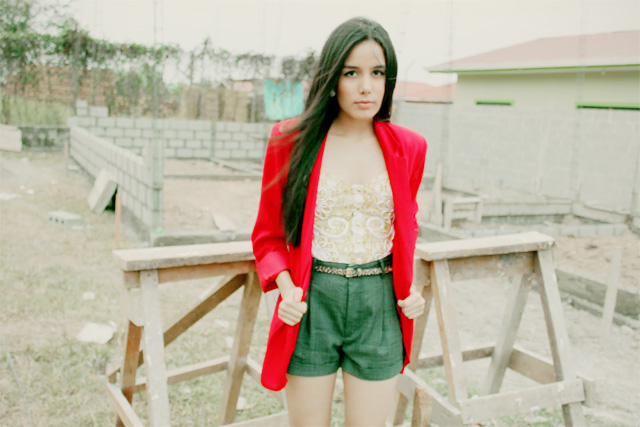 DIY cuffed shorts outfit worn with red blazer and vintage corset