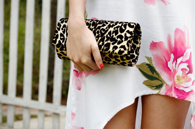DIY maxi mullet skirt detail and leopard print clutch