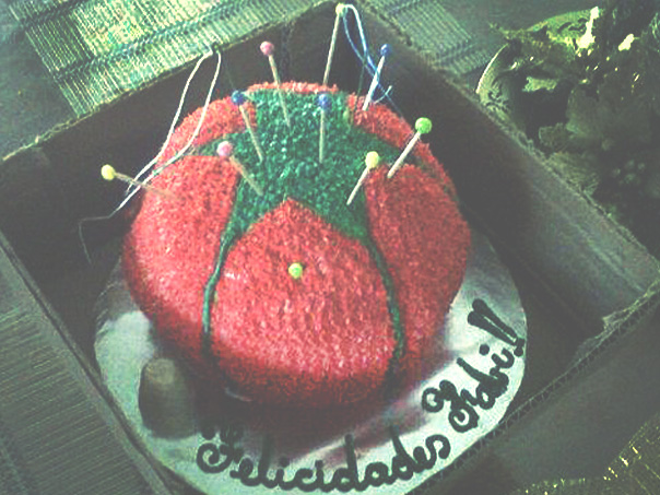 Tomato pin cushion birthday cake