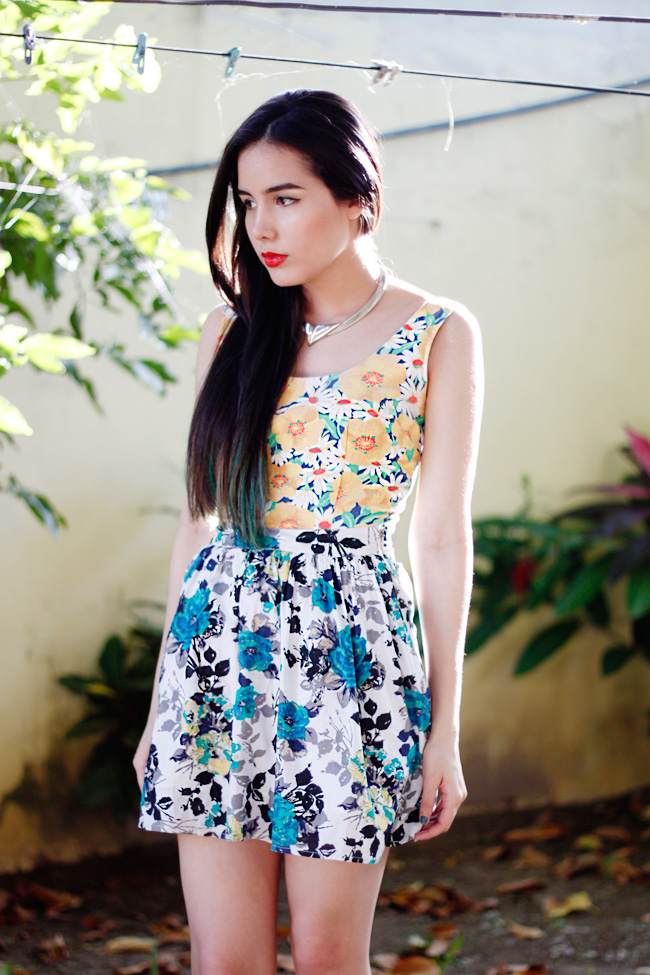 Floral print on print outfit
