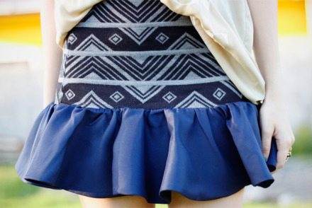 Aztec print skirt with ruffle hem