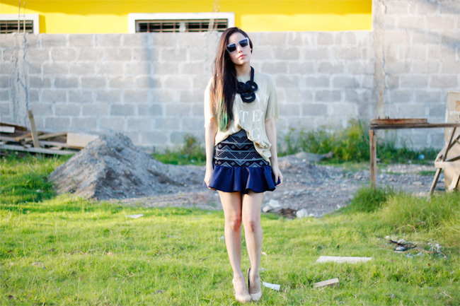 DIY ruffle skirt outfit