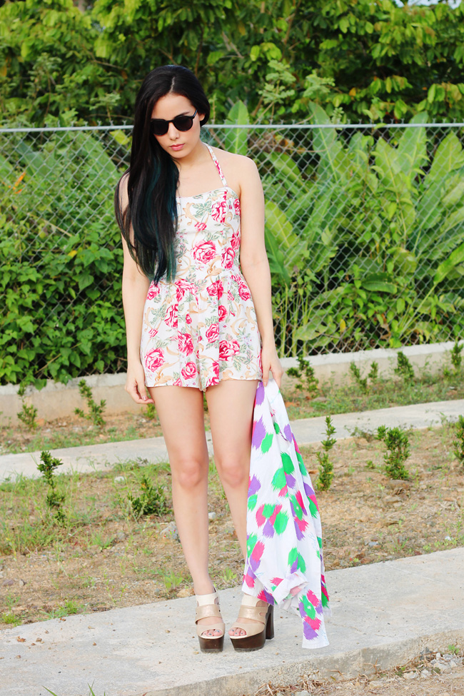 Floral print vintage romper for summer