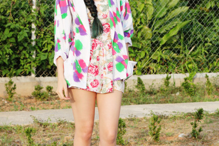 Summer outfit idea, floral romper