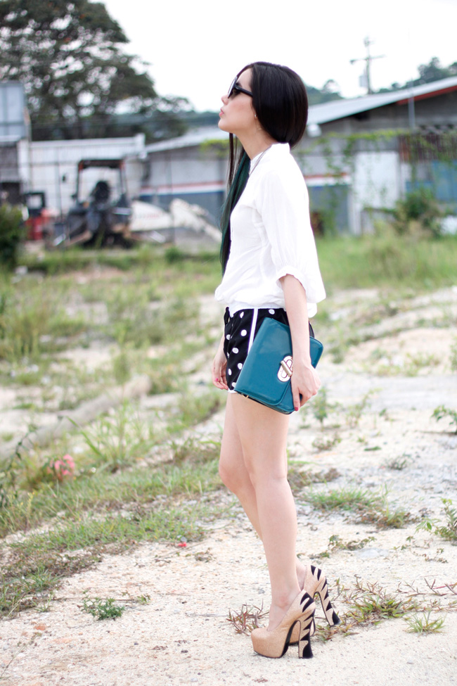 Black & white polkadotted shorts