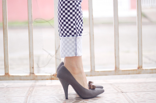 Result of easy DIY beads embellished heels worn with checkered pants