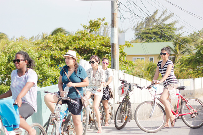 Riding bikes around the island of Utila, Honduras