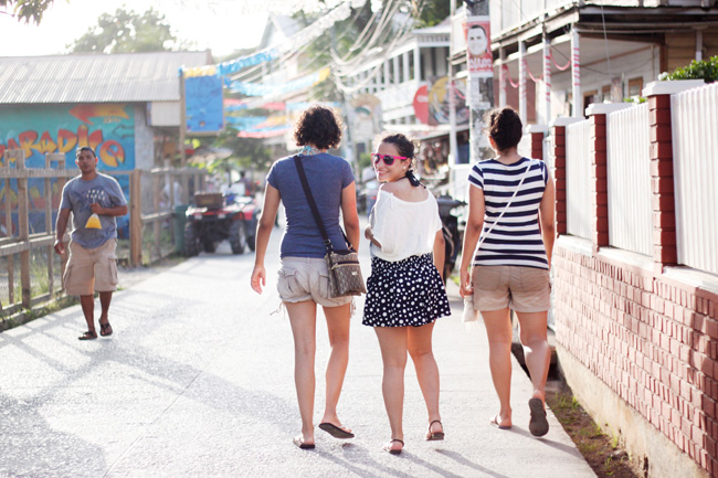 My girls walking around Utila, Honduras
