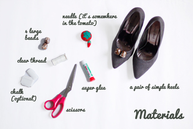 Materials you'll need to embellish your heels