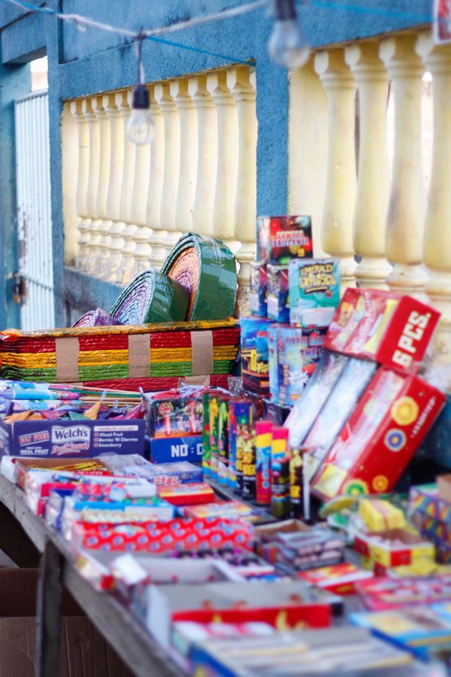 Fireworks for sale before carnival at Utila, Honduras