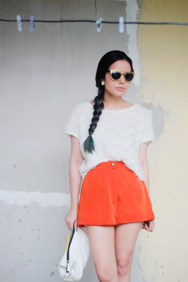 Fuzzy top paired with Aldo Marcucci shorts