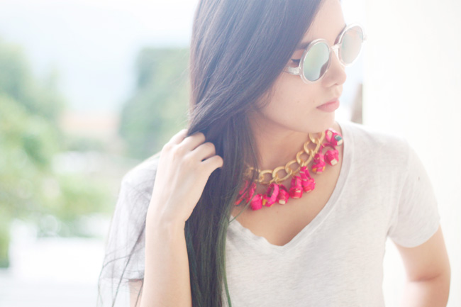 Statement Necklace worn with Basic White T-Shirt