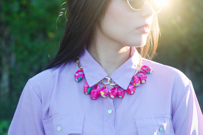 Wear DIY statement necklace with a button-up