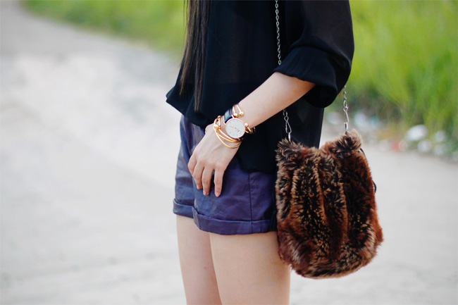 Daniel Wellington watch and faux fur bag from Thailand.